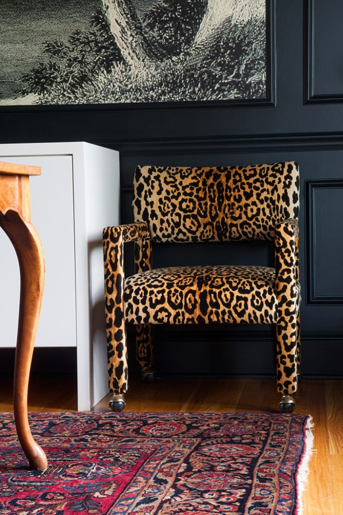 Makerista, leopard chairs, Metrie moulding, custom, millwork, walls, molding, crown moulding, chair moulding, picture frame moulding, one room challenge, Jeweled Interiors Fall 2018 One Room Challenge, 2018 fall one room challenge, before and after, colonial, French apartment,