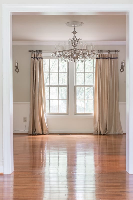 Entryway ideas, entryway, chandelier, moulding, paint, farrow and ball, Kelly Wearstler, California collection, lamps plus, Cascata lamp, drapes,