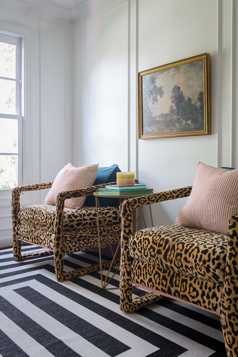 before pictures, craigslist, club chairs, leopard chairs, animal print chairs, makerista, from the right bank, leopard, tutorial, one room challenge, fall 2018 one room challenge, fabric mill, Braemore Jamil Natural Leopard Print Velvet, home pop side table, peach, pink, blush, white walls, moulding, French apartment, emerald, Kate spade, antique art