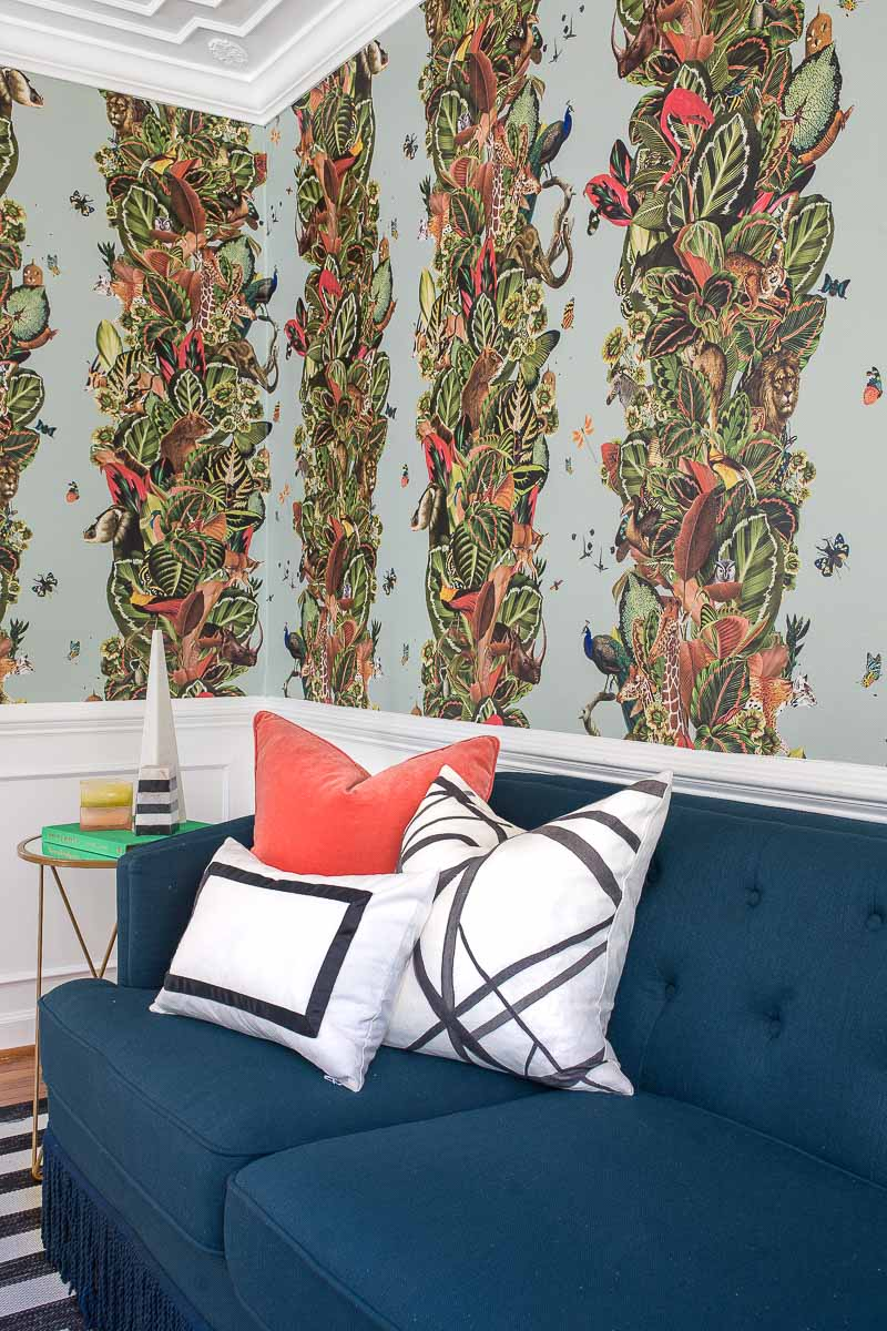 Milton and King, wallpaper, Viva Tropicana, kelly wearstler, pillow, striped rug, target, miles redd, jungle wallpaper, bohemian wallpaper, large scaled wallpaper, 2018 fall one room challenge, jeweled interiors, jewel Marlowe,