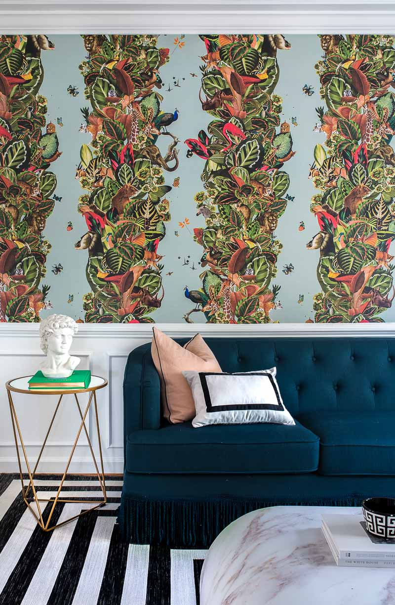 tutorial, how to hang wallpaper, paste the wall wallpaper, Milton and King, wallpaper, Viva Tropicana, kelly wearstler, pillow, striped rug, target, miles redd, jungle wallpaper, bohemian wallpaper, large scaled wallpaper, 2018 fall one room challenge, jeweled interiors, jewel Marlowe,
