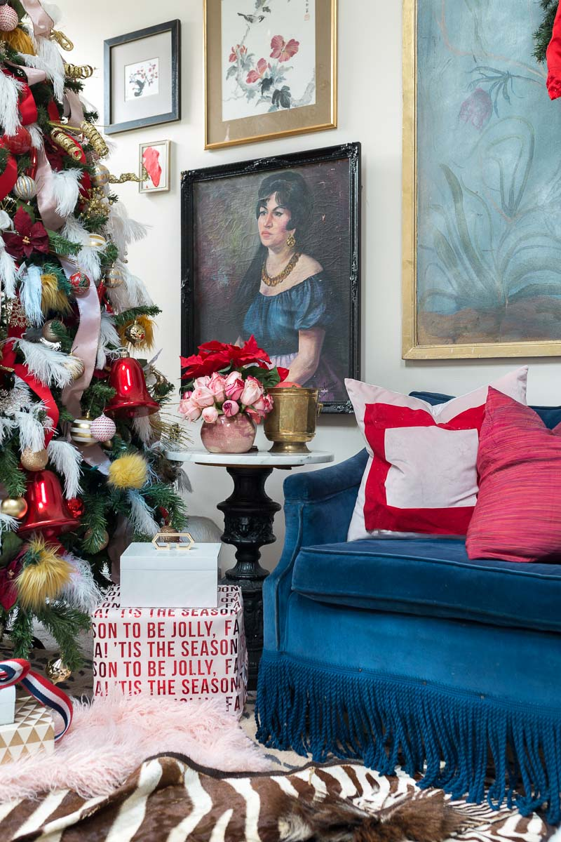 You've got to see this! It's a colorful life blog hop, jeweled interiors, 2018, Christmas, holiday, home tour, Christmas tree, miles redd, one room challenge, pink and red, zebra rug, moulding, silk curtains, Miles Redd