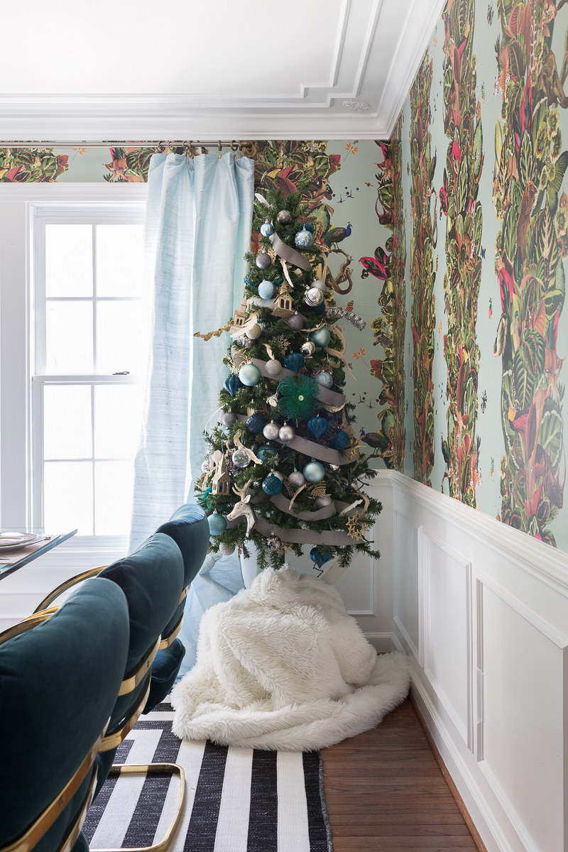 You've got to see this! It's a colorful life blog hop, jeweled interiors, 2018, Christmas, holiday, home tour, Christmas tree, miles redd, one room challenge, leopard chairs, striped rug, moulding, silk curtains, modern art