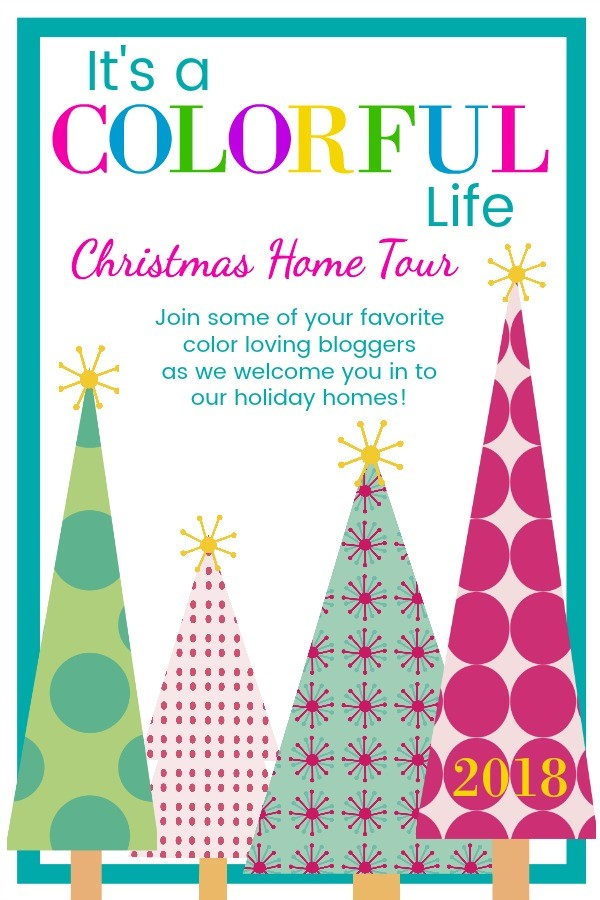 It's a colorful life blog hop, jeweled interiors, 2018, Christmas, holiday, home tour, Christmas tree, miles redd, one room challenge, l