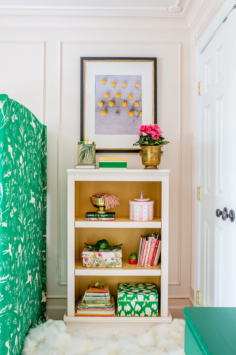 Look at this girls room bookshelf, Tone on tone, pink and green, upholstered bunk bed, jeweled interiors, jewel Marlowe, spring home tour, 2019