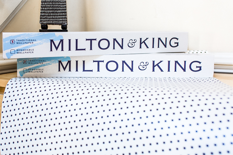 Milton and King's Simplemente Puntos wallpaper, Milton and King, Polka dot wallpaper, black and white wallpaper, how to hide wonky ceilings, entryway wallpaper,  How to hang wallpaper, wallpaper tutorial, Jeweled Interiors, entryway