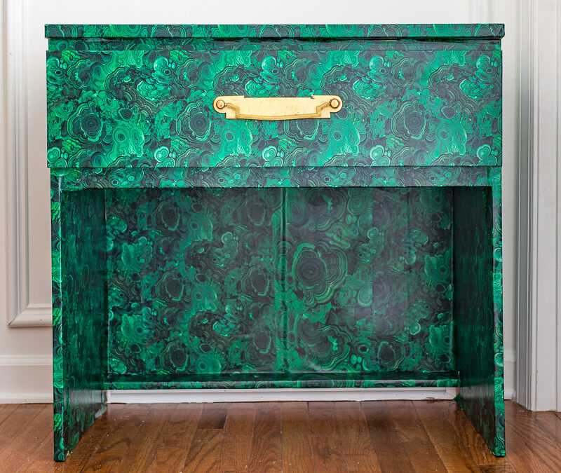 Malachite Table DIY | Ikea Hack Using Spoonflower Wallpaper
