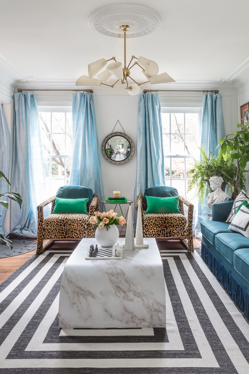 leopard chairs, art deco lighting, silk curtains, black and white rug, jeweled interiors, jewel Marlowe, spring home tour, 2019, custom upholsery, upholstered headboard