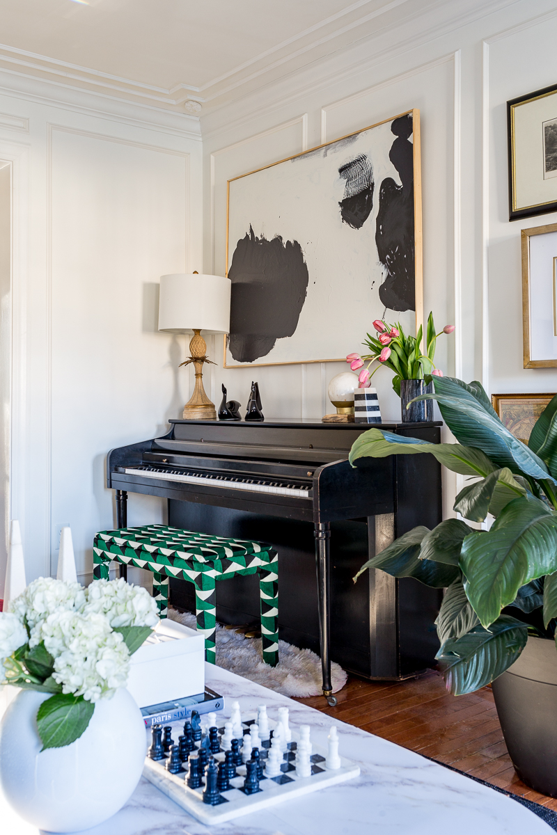 upholstered piano bench, piano ideas, piano styling, upholstered bench, black and white stripes, jeweled interiors, jewel Marlowe, spring home tour, 2019, custom upholsery, upholstered headboard