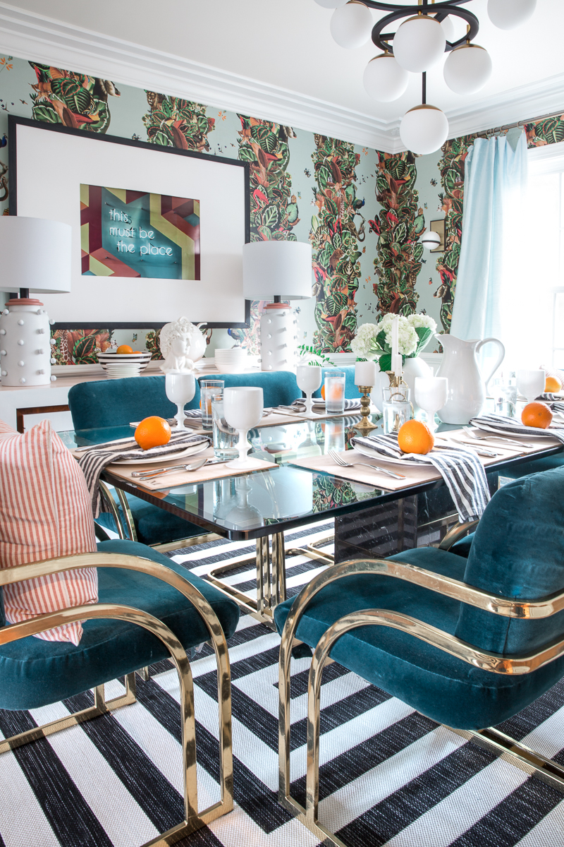 dining room, milo baughman chairs, countilever chair, teal velvet, upholstered chairs, brass chairs, milton and king, wallpaper, black and white stripes, jeweled interiors, jewel Marlowe, spring home tour, 2019, custom upholsery, upholstered headboard