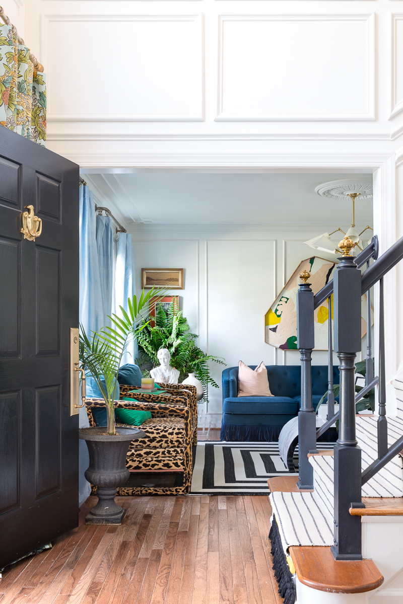 Fall 2018 orc, maximalist living room, terrazzo sofa, fringed sofa, Jewel Marlowe, jeweled interiors, Orc, One Room Challenge, 2019, spring, living room, miles Redd, grandeur hardware, corbett lighting, leopard chairs, boholux, metrie moulding, farrow and ball paint, thomas mach, thomas mach interiors, corb