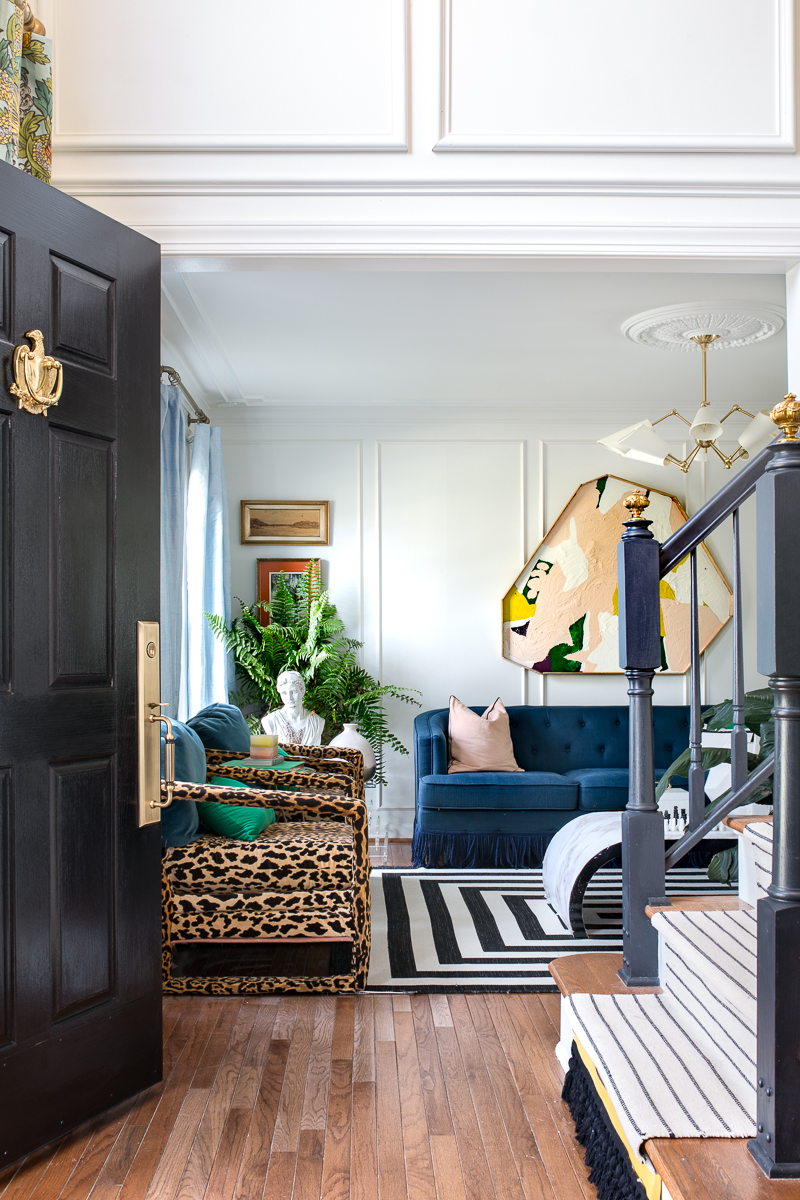 leopard chairs, art deco lighting, silk curtains, black and white rug, jeweled interiors, jewel Marlowe, spring home tour, 2019, custom upholsery, upholstered headboard , federalist eagle, door knocker, grass door handle