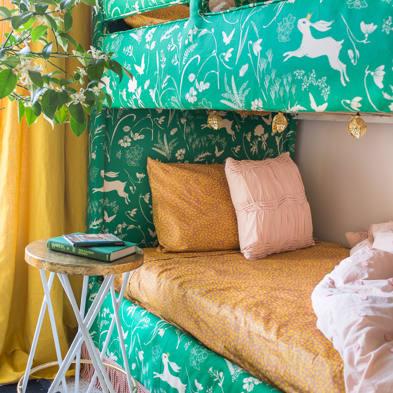 Look at this upholstered bunk bed, upholstered bunk bed, upholstered headboard, upholstered bed, pink and green, upholstered bunk bed, jeweled interiors, jewel Marlowe, spring home tour, 2019