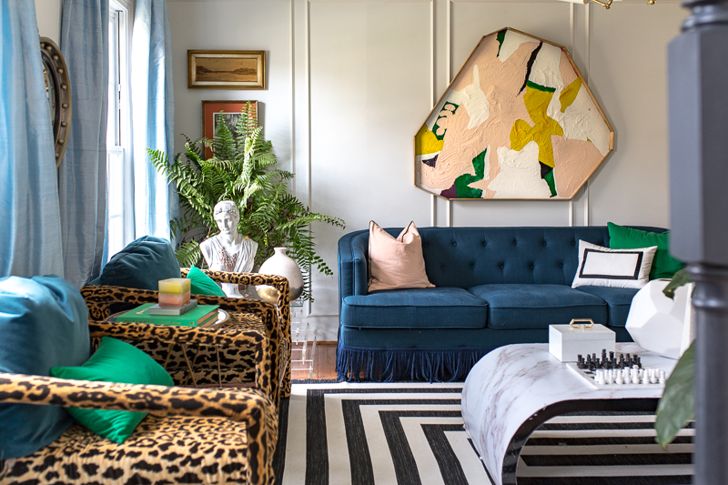 leopard chairs, art deco lighting, silk curtains, fringe sofa, black and white rug, jeweled interiors, jewel Marlowe, spring home tour, 2019, custom upholsery, upholstered headboard , fed,