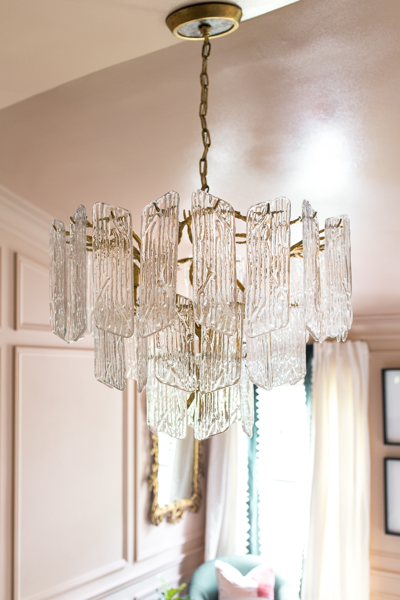 jeweled interiors, One room challenge, ORC, Week 4, Piemonte Chandelier, lighting updates, Corbett lighting, HVG lighting, Hudson Valley, Art Deco chandelier, waterfall chandelier, cascading chandelier, glass plate chandelier, bedroom, Spring 2019