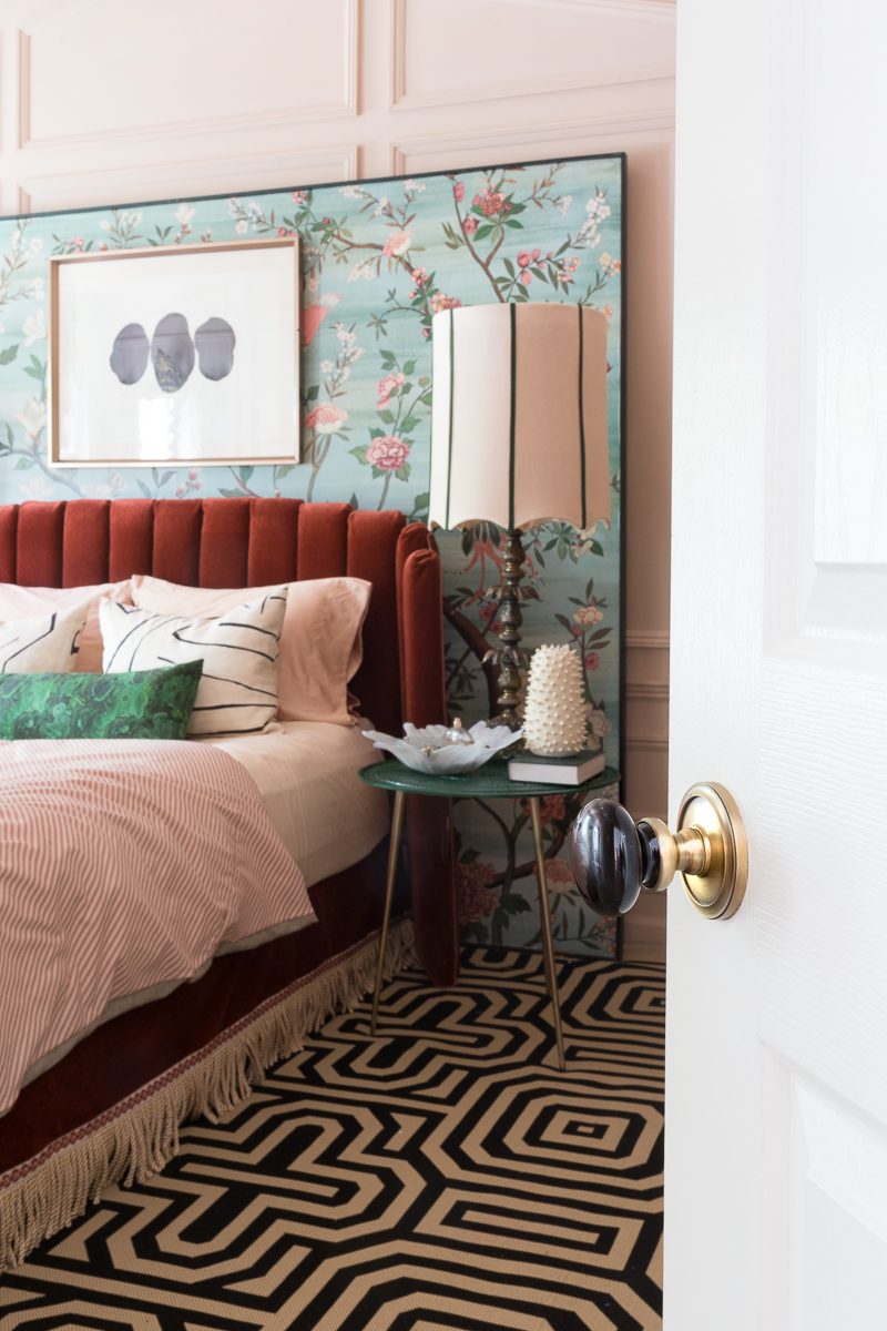 Jeweled Interiors, spring, 2019, One Room Challenge, ORC big reveal, Door Handle upgrade, brass door handle, master bedroom, bedroom, chinoiserie, Anthropologie, maximalist, bohemian, Miles Redd, piedmont chandelier, art deco, Metrie Moulding, bohemian moulding, new traditionalist, master bedroom, master bedroom reveal, dramatic bedroom, setting plaster, reveal, big reveal, farrow and ball, jeweledinteriors, Hollywood regency, diy bed, red bed