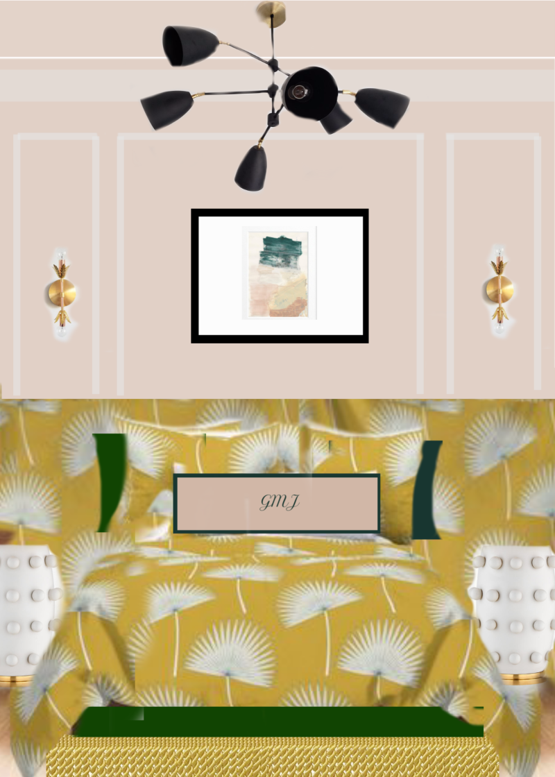 Mood board for the guest bedroom, bohemian headboard, vertical channel tufts