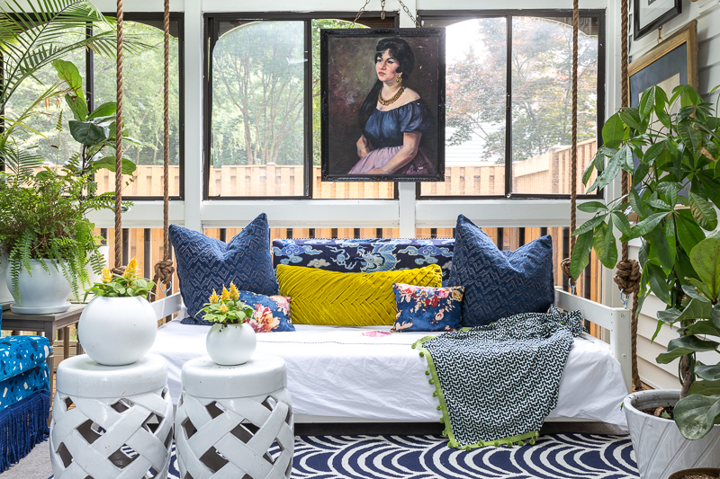 Maximalist Sunroom Reveal on a Budget