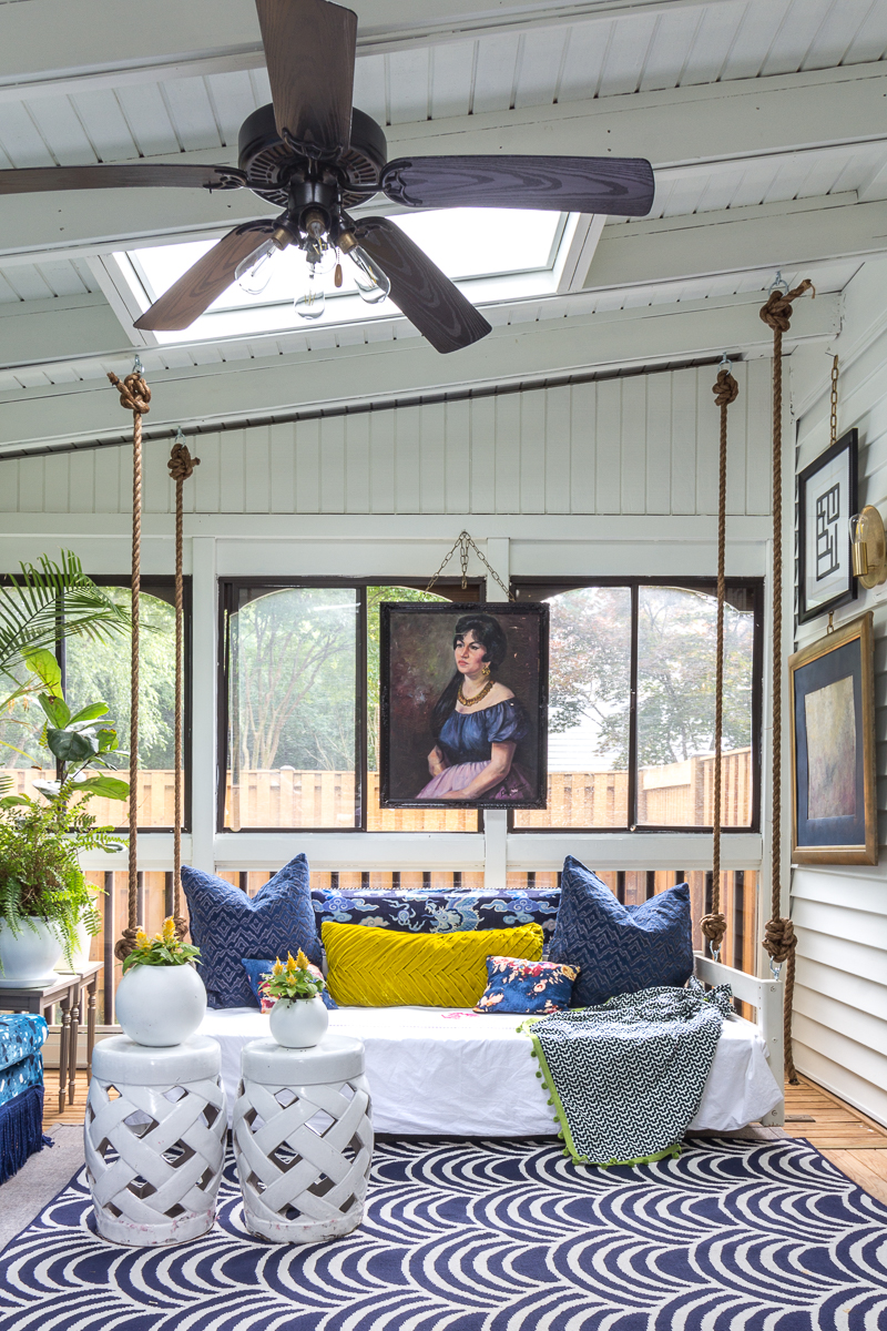 You have to see the Jewel Marlowe home tour! sunroom, portrait, indoor swing, diy bed swing