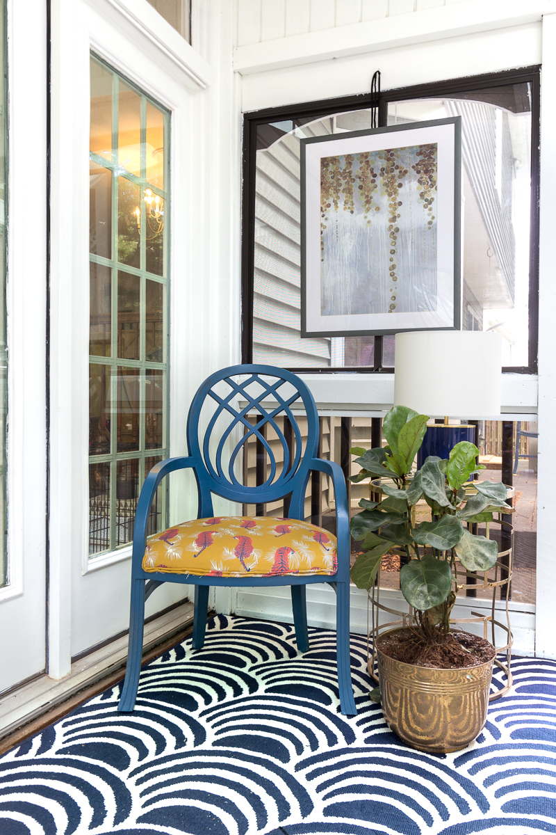 You've got to see this! sunroom big reveal, maximalist room, maximalist sofa, maximalist sunroom, blue sofa, sofa with fringe, fringed sofa, terrazzo sofa, jeweled interiors, budget make over, budget sunroom makeover,  bed swing, twin bed swing, sunroom bed swing, bohemian sunroom, colorful sunroom, Jeweledinteriors, DIYs, spoon flower