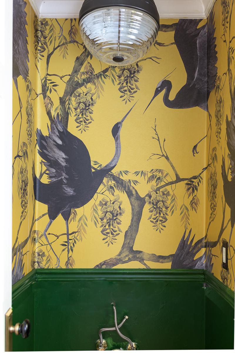 Fine and dandy wallpaper, elegant bathroom wallpaper, yellow wallpaper, mustard yellow wallpaper, yellow and green bathroom
