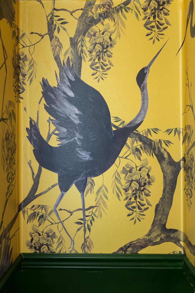 Fine and dandy wallpaper, elegant bathroom wallpaper, yellow wallpaper, mustard yellow wallpaper, yellow and green bathroom, bird wallpaper