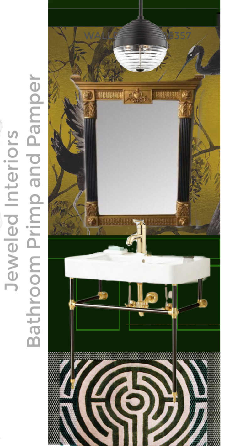 dramatic bathroom, yellow and green bathroom, dramatic half bath, dramatic powder room