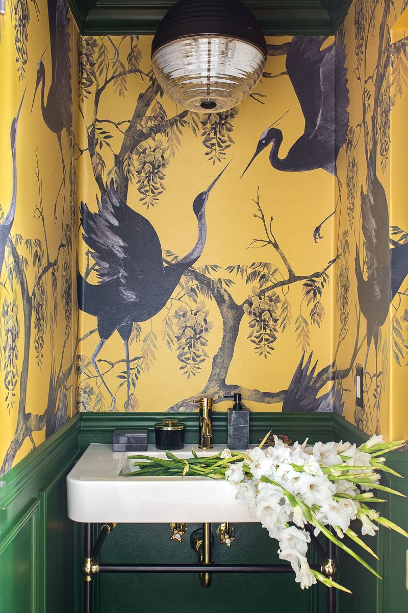 half bath, chinoiserie, wallpaper, green and yellow, fine and dandy co, dramatic bathroom, most beautiful bathroom