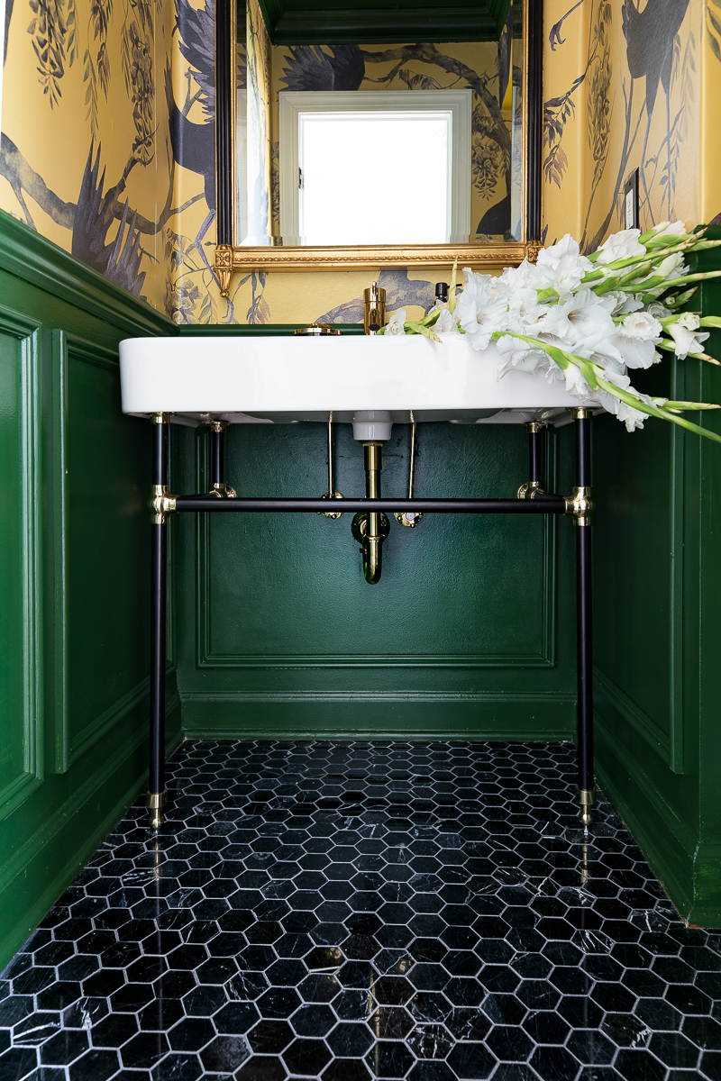 You've go to see more of this! Check out the burleson console sink, black and brass sink, porcelain sink, signature hardware