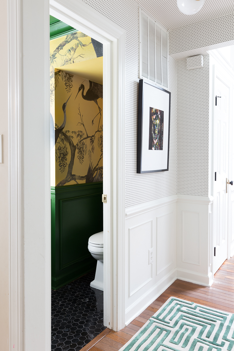 You have to see the Jewel Marlowe home tour! Wallpaper, yellow and green bathroom, polka dot wallpaper, Jewel Marlowe, jeweled interiors