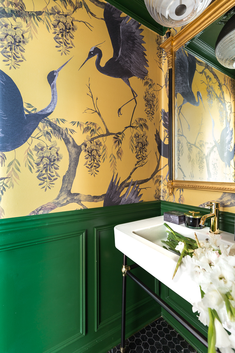 You've got to see this! A stunning yellow and green powder room bathroom by jeweled interiors.