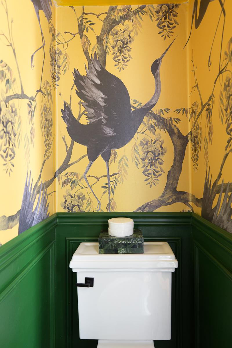 build.com, toilet, miseno toilet, stylish toilet, white toilet, Yellow Chinoiserie wallpaper