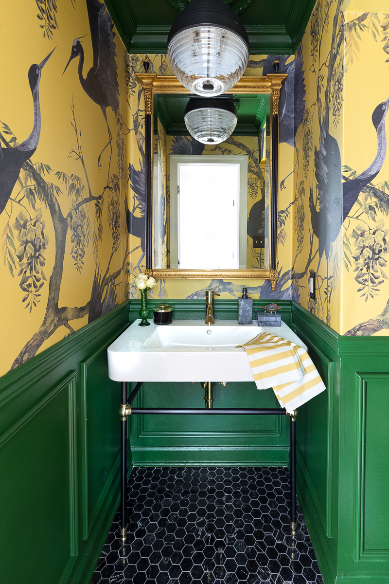 You've got to see this dramatic bathroom reveal, yellow and green bathroom, half bath, powder room