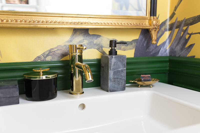 brass faucet, black marble tile, brass trapping, brass plumbing