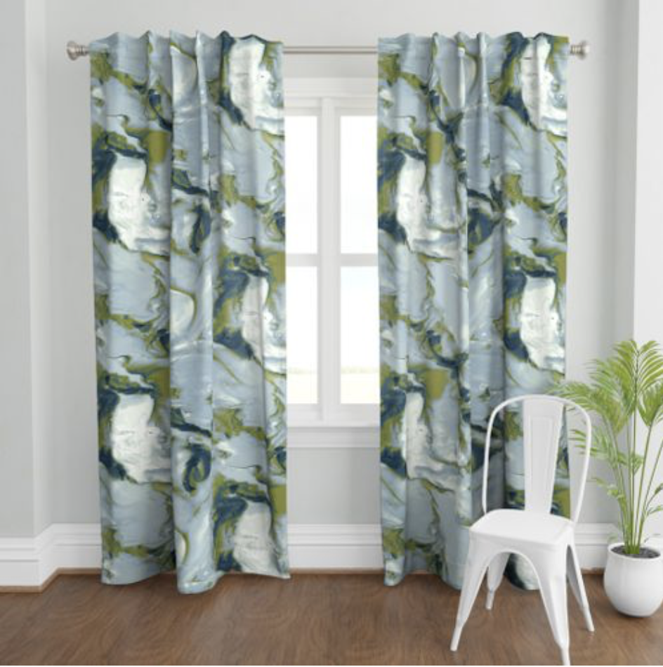 Spoonflower Curtains  for Jewel Marlowe's fall 2019 One Room Challenge Space