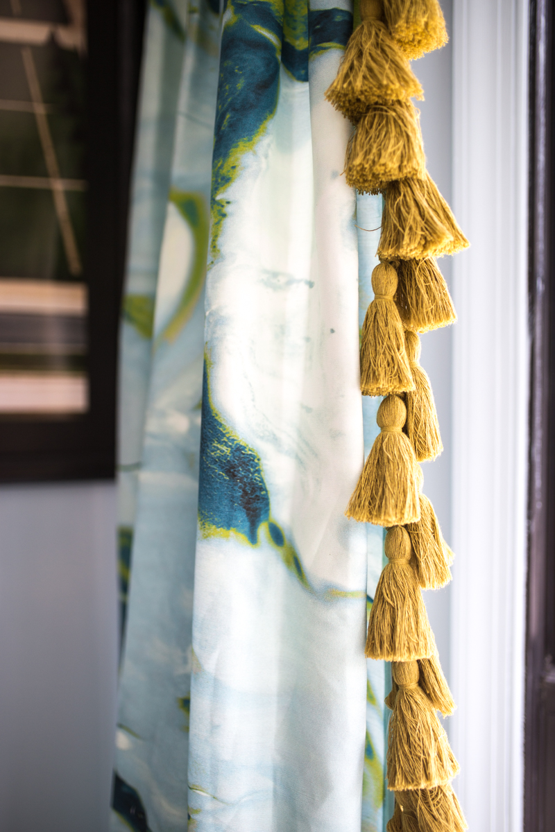 jeweled Interiors fall 2019 ORC, fringe market, tassel fringe, Spoonflower, rooster curtains