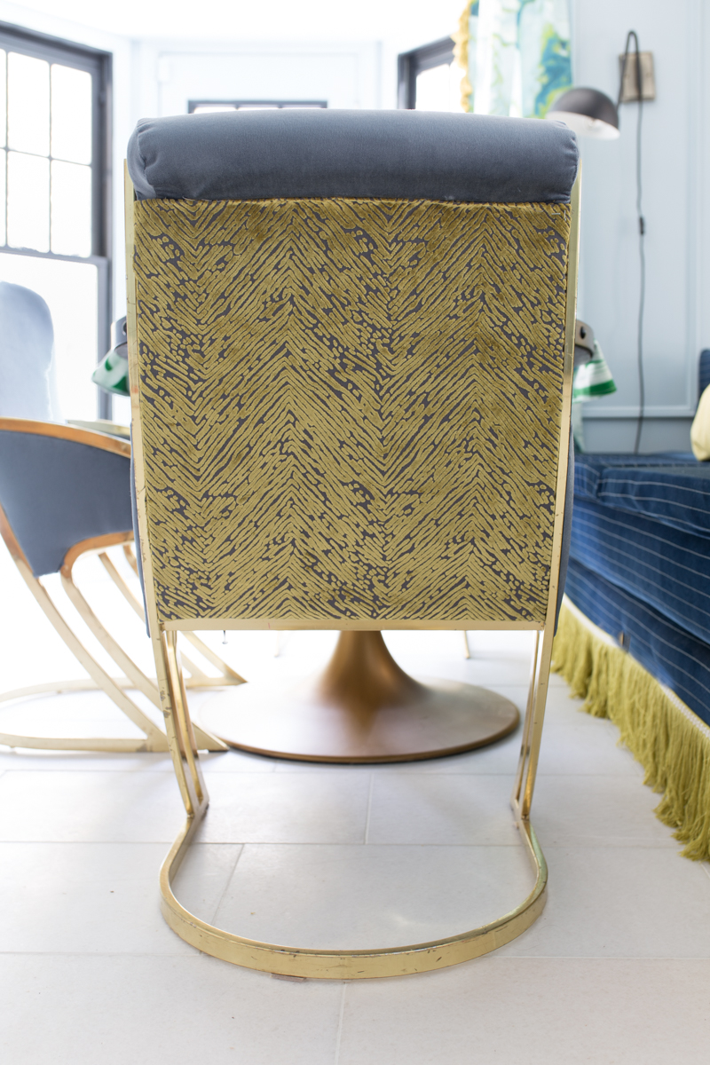 Jeweled Interiors 2019 Fall ORC, milo baughman chair with fabricut fabric, fringe, banquette