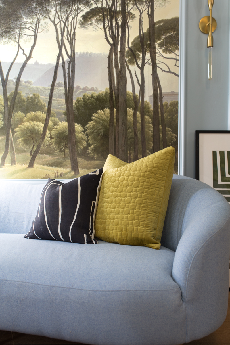 MIND BLOWING! MUST SEE THIS REVEAL! Jeweled Interiors Fall 2019 ORC, living room, Robin Sprong Mural from the Sarza Store, Kelly Wearstler, Graphite, fabricate fabric, swd pillow,