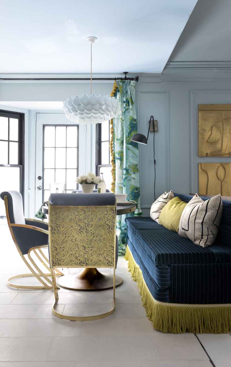 Jeweled Interiors fall 2019 ORC, eat in, dining room, Original BTC, Pembridge, pendant, chandelier banquette, channel tufted, fringed