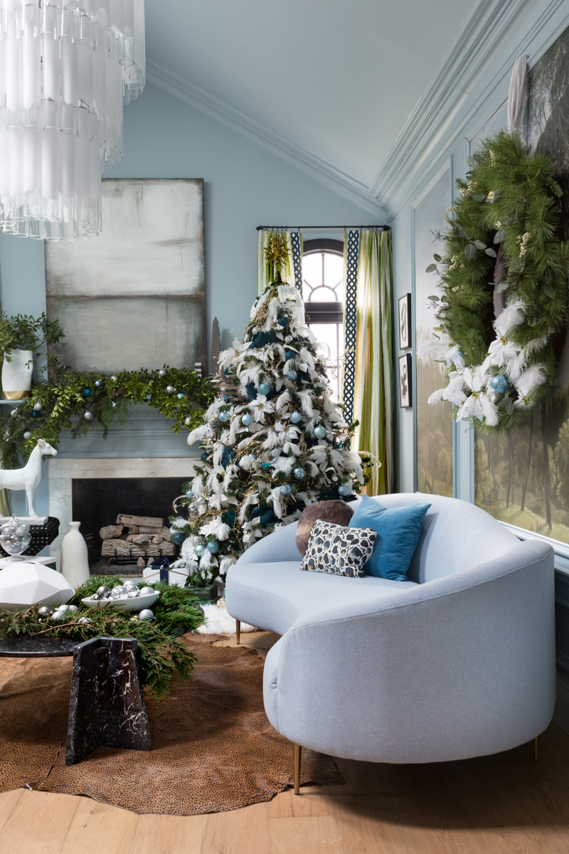You've got to see these romantic Christmas tree ideas. Jeweled Interiors, Jewel Marlowe, One room challenge, Christmas, blue Christmas tree, ostrich feathers, Christmas tree ideas