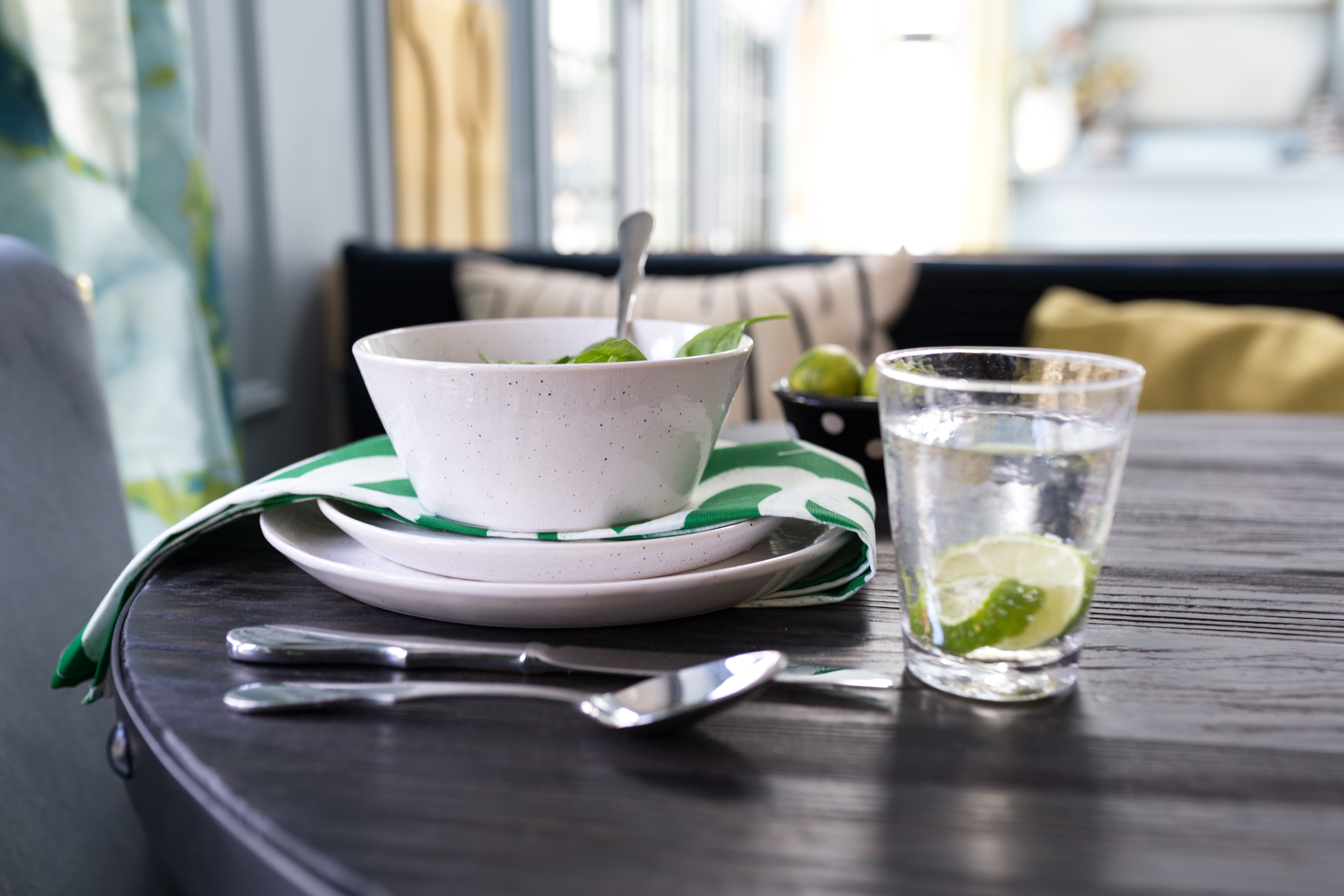 Jeweled Interiors Fall 2019 ORC, kirkland's dishes, spooflower napkins, green