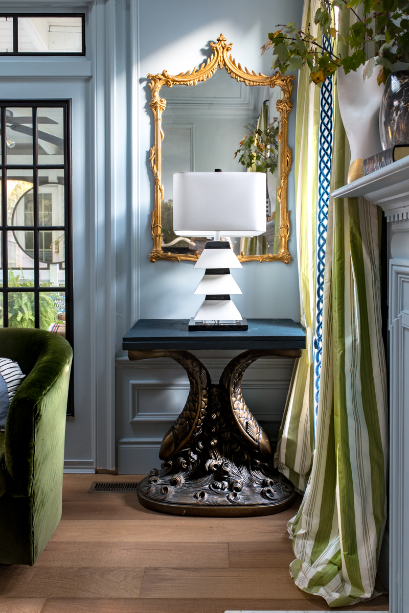 Jeweled Interiors, Jewel Marlowe Home Tour, Spring 2020, living room, koi table, couture lamp, antique mirror, light blue walls, moulding