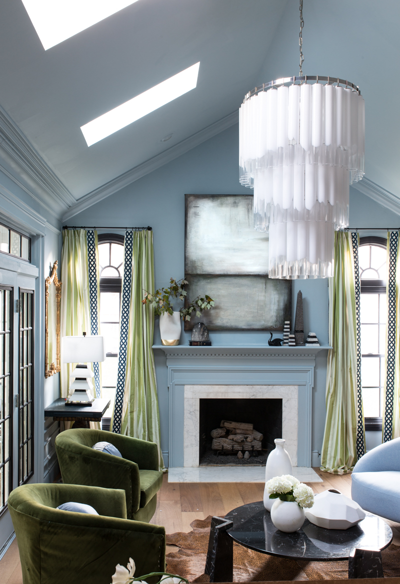MIND BLOWING! MUST SEE THIS REVEAL! Jeweled Interiors Fall 2019 ORC, living room, Laura Gunn art, scalamandre curtains, black marble coffee table, Rothko art, mural, and statement chandelier.