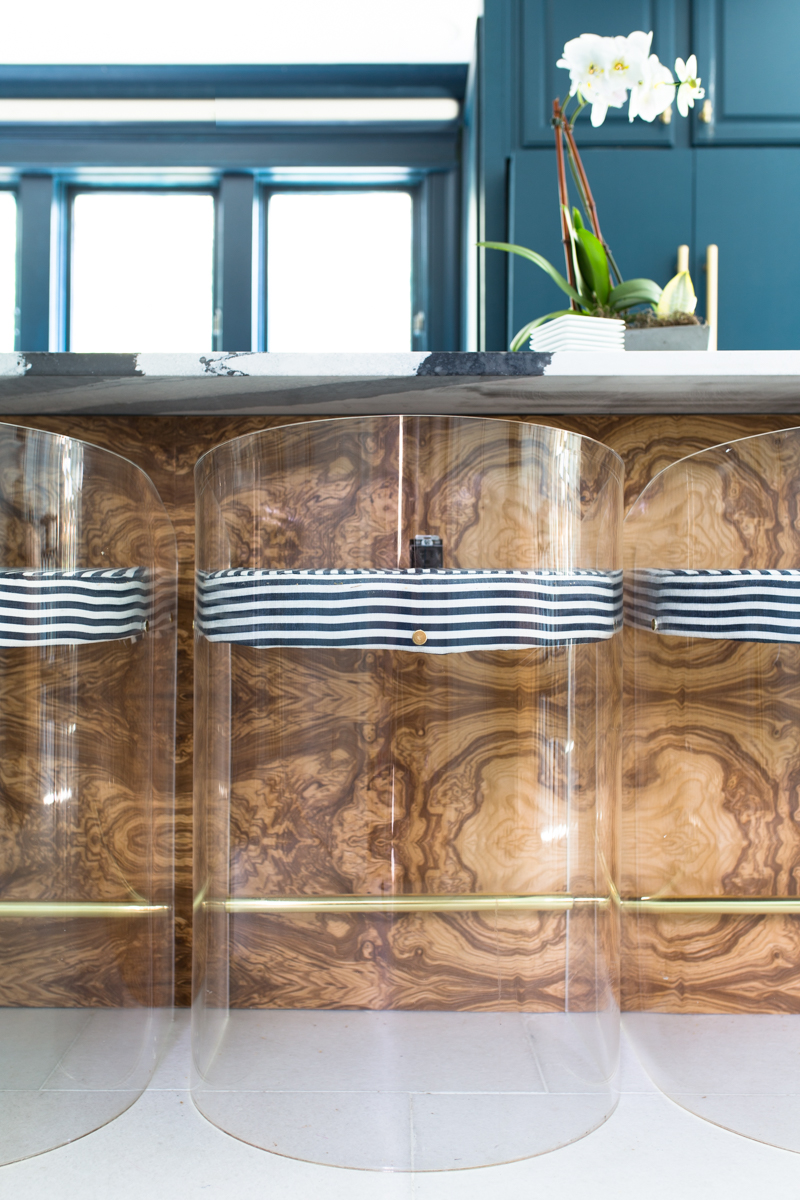 blue cabietsJeweled interiors Fall 2019 ORC kitchen, burl island front cambia island, bentley, milton and king candy stripe fabric, hague blue cabinets