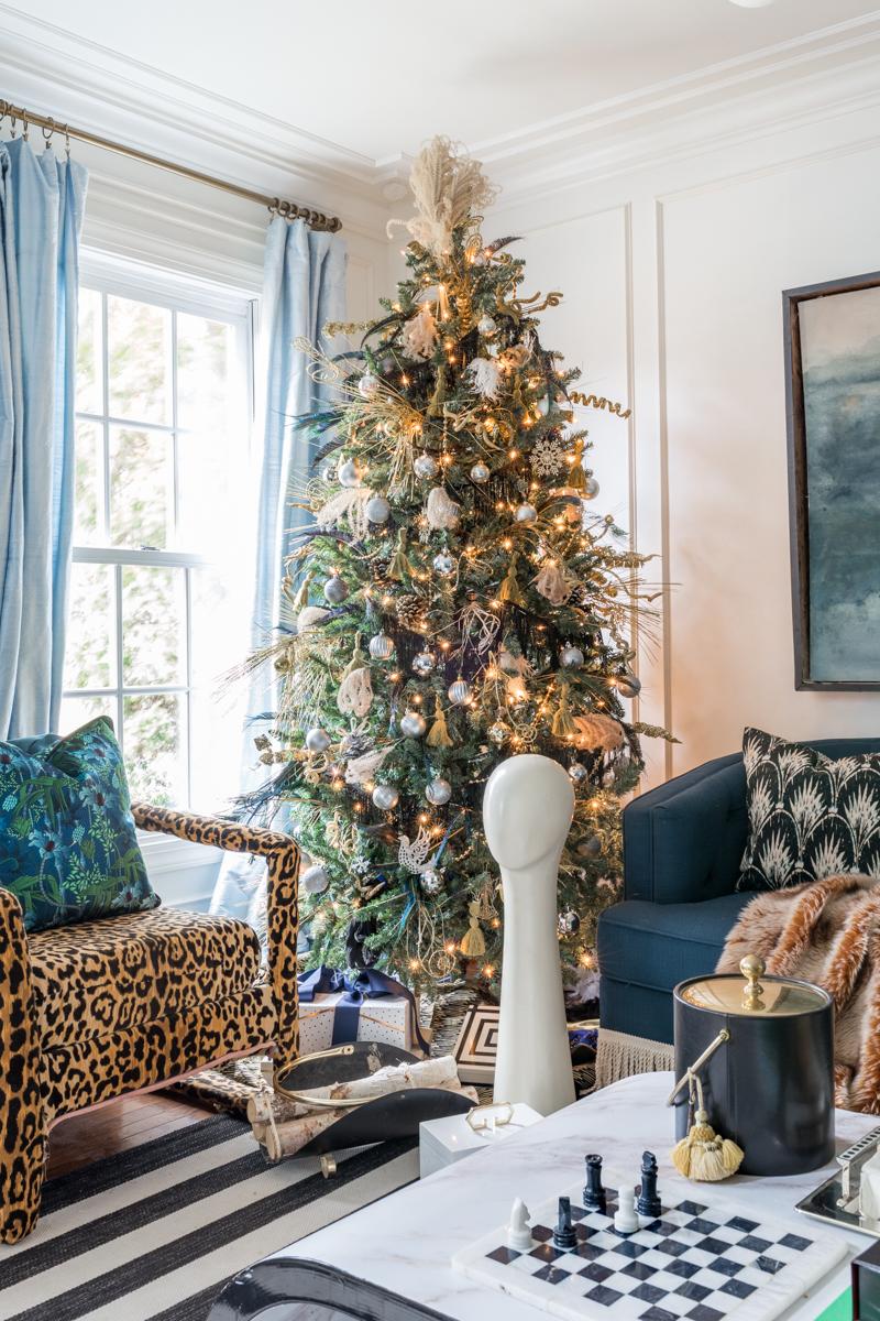 Art Deco Christmas tree, Great Gatsby Party, Great Gatsby Christmas,  speak easy pampas grass tree, fringe 1920's tree