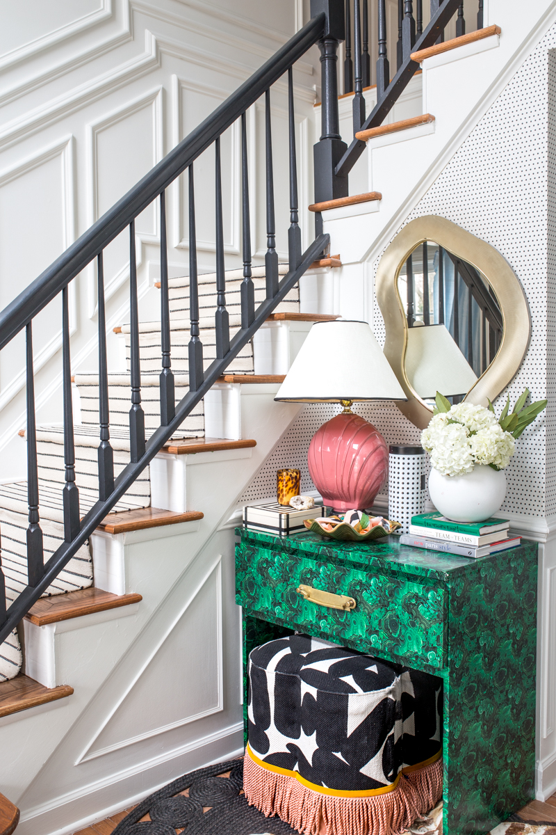 Jeweled Interiors , Fall home tour, entryway table, moulding, malachite, fringe, bench