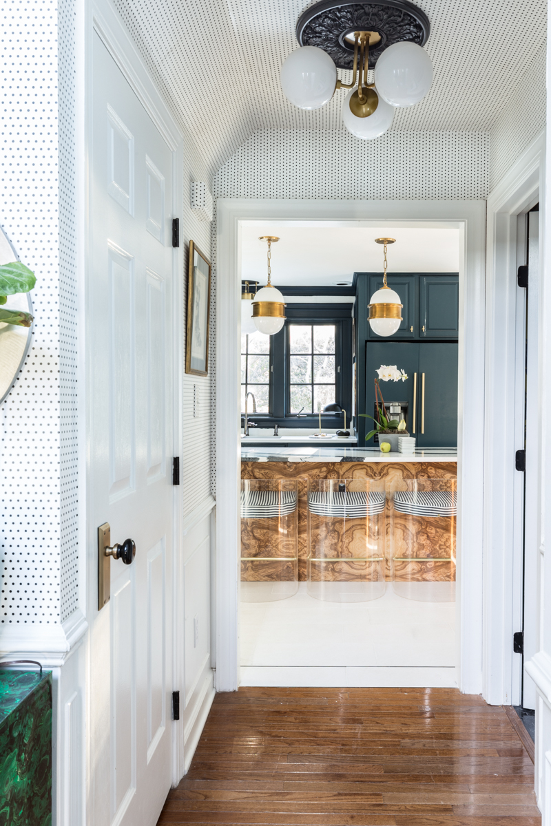 Jewel Marlowe Home Tour, Spring 2020, Jeweled Interiors kitchen, burl, tile shop floors, Hague blue cabinets, Cambria countertops, Broomley sconce, lucite barstools