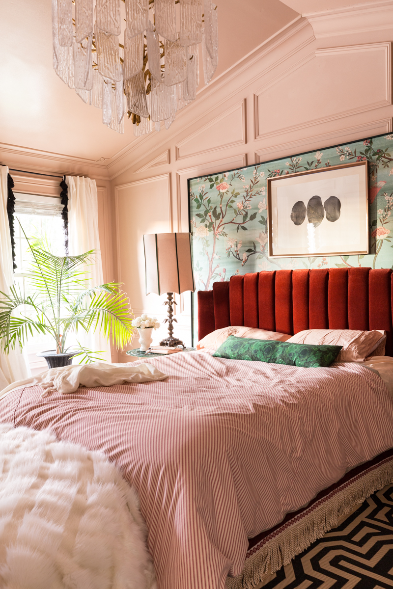 Master bedroom, maximalist, red bed, channel tufted headboard, setting plaster, moulding, Jewel Marlowe, Jeweled Interiors