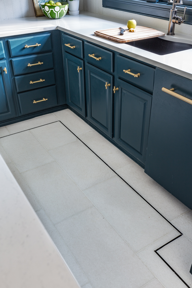 The Tile Shop San Dona marble floors with black pinstripe and Parma grey walls for kitchen updates