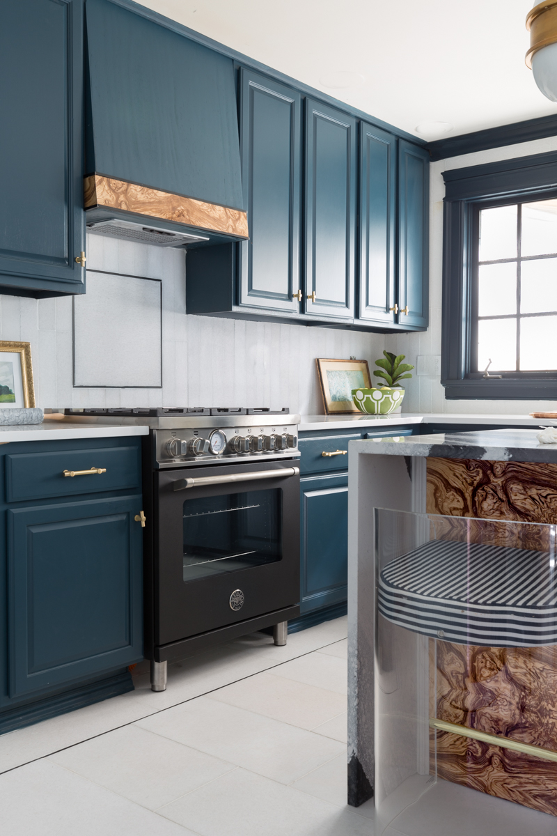 Jeweled Interiors kitchen, fall 2019 One Room Challenge, burl hood vent, tile shop floors, Hague blue cabinets, cambria countertops, Bertazzoni Master series
